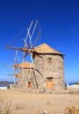 Ελλάδα/Patmos: Οι μύλοι Chora στοκ εικόνες