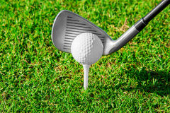ελέγξτε τις απεικονίσεις γκολφ λεσχών περισσότερο παρακαλώ το χαρτοφυλάκιό μου αθλητικό Πράσινοι τομέας και σφαίρα στη χλόη Στοκ Εικόνα