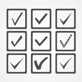ελέγξτε το σημάδι εικονιδίων Στοκ Εικόνες