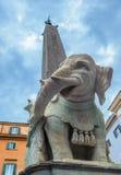 Ελέφαντας και οβελίσκος από Bernini στο della Minerva, Ρώμη, Ι πλατειών Στοκ εικόνα με δικαίωμα ελεύθερης χρήσης