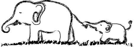 Ελέφαντας και παιδί διανυσματική απεικόνιση