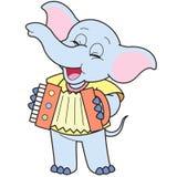 Ελέφαντας κινούμενων σχεδίων που παίζει ένα ακκορντέον απεικόνιση αποθεμάτων