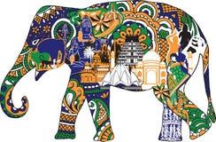 Ελέφαντας με τα ινδικά σύμβολα ελεύθερη απεικόνιση δικαιώματος
