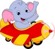 Ελέφαντας που οδηγά ένα αεροπλάνο Στοκ φωτογραφία με δικαίωμα ελεύθερης χρήσης