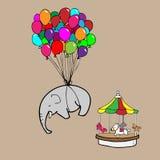 Ελέφαντας που πετά από τα κινούμενα σχέδια μπαλονιών Στοκ φωτογραφίες με δικαίωμα ελεύθερης χρήσης