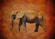 Ελέφαντας σε ένα βρώμικο εκλεκτής ποιότητας υπόβαθρο Στοκ Εικόνα