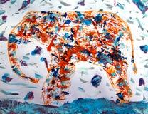 Ελέφαντας στη θύελλα χιονιού Στοκ Εικόνες