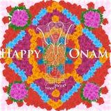 Ελέφαντας στο υπόβαθρο λουλουδιών για το ινδικό φεστιβάλ, ευτυχής εορτασμός Onam Στοκ Εικόνα