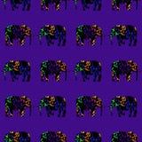 Ελέφαντες τρεξίματος, άνευ ραφής διακόσμηση Στοκ Εικόνες