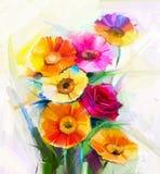 Ελαιογραφία μια ανθοδέσμη του ροδαλού, λουλουδιού μαργαριτών και gerbera ελεύθερη απεικόνιση δικαιώματος