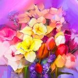 Ελαιογραφία μια ανθοδέσμη των λουλουδιών daffodil και τουλιπών ελεύθερη απεικόνιση δικαιώματος