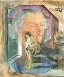 Ελαιογραφία που χρωματίζεται στο χρησιμοποιημένο καμβά Στοκ Εικόνες