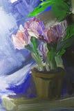 Ελαιογραφία σύστασης, λουλούδια, τέχνη, χρωματισμένη εικόνα χρώματος, χρώμα Στοκ Εικόνες