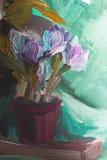 Ελαιογραφία σύστασης, λουλούδια, τέχνη, χρωματισμένη εικόνα χρώματος, χρώμα Στοκ εικόνα με δικαίωμα ελεύθερης χρήσης