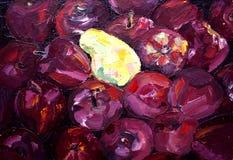 Ελαιογραφία του μήλου και του αχλαδιού Στοκ Φωτογραφία