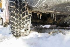 Ελαστικό αυτοκινήτου χιονιού Στοκ Φωτογραφία