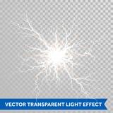 Ελαφριά λάμψη αστραπής της θύελλας βροντής στο διαφανές υπόβαθρο Στοκ εικόνα με δικαίωμα ελεύθερης χρήσης