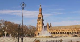 Ελαφριά άποψη 4k Σεβίλη Ισπανία ήλιων πηγών de espana Plaza απόθεμα βίντεο