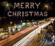 Ελαφριά ίχνη πόλεων του Λονδίνου πυροτεχνημάτων Χαρούμενα Χριστούγεννας ζωηρόχρωμα Στοκ Εικόνα