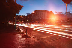 Ελαφριά ίχνη στην οδό πόλεων Στοκ φωτογραφίες με δικαίωμα ελεύθερης χρήσης