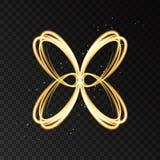 Ελαφριά επίδραση με τη χρυσή σκιαγραφία πεταλούδων νέου αφηρημένη απεικόνιση αποθεμάτων