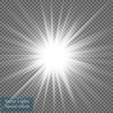 Ελαφριά επίδραση πυράκτωσης Έκρηξη αστεριών με τα σπινθηρίσματα επίσης corel σύρετε το διάνυσμα απεικόνισης ήλιος Στοκ Εικόνες