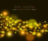Ελαφριά ευχετήρια κάρτα έτους Χαρούμενα Χριστούγεννας νέα bokeh Στοκ Εικόνες