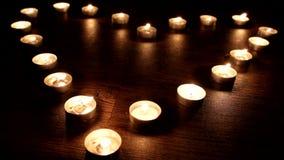 Ελαφριά κεριά τσαγιού αγάπης απόθεμα βίντεο