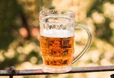 Ελαφριά κινηματογράφηση σε πρώτο πλάνο μπύρας στο μεγάλο γυαλί, οινόπνευμα Στοκ Εικόνες