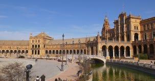 Ελαφριά πανοραμική άποψη 4k Ισπανία ήλιων de espana Plaza απόθεμα βίντεο