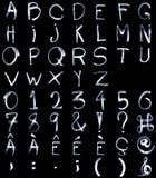 Ελαφριά πλήρη αλφάβητα ζωγραφικής με τους ειδικούς χαρακτήρες και το NU Στοκ εικόνες με δικαίωμα ελεύθερης χρήσης