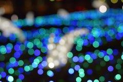 Ελαφριές θαμπάδες των μπλε οδηγήσεων χειμερινού φωτισμού στοκ φωτογραφία με δικαίωμα ελεύθερης χρήσης