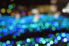 Ελαφριές θαμπάδες των μπλε οδηγήσεων χειμερινού φωτισμού στοκ εικόνες με δικαίωμα ελεύθερης χρήσης