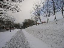 Ελαφριές χιονοπτώσεις στη γειτονιά την ημέρα ενός χειμώνα Στοκ φωτογραφία με δικαίωμα ελεύθερης χρήσης
