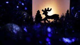 Ελαφρύς λαμπτήρας ελαφιών έτους Χριστουγέννων νέος απόθεμα βίντεο
