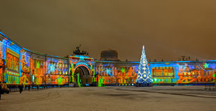 Ελαφρύς-μουσικός παρουσιάστε στο τετράγωνο παλατιών Dvortsovaya ST Petersbur Στοκ εικόνα με δικαίωμα ελεύθερης χρήσης
