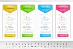 Ελαφρύς πίνακας τιμολόγησης με 3 επιλογές Καθορισμένο inclu εικονιδίων Στοκ εικόνες με δικαίωμα ελεύθερης χρήσης