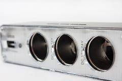 Ελαφρύτερη υποδοχή USB και τσιγάρων για το αυτοκίνητο Στοκ φωτογραφίες με δικαίωμα ελεύθερης χρήσης