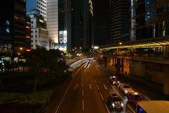 Ελαφρύ ίχνος νύχτας στο Χονγκ Κονγκ Στοκ φωτογραφίες με δικαίωμα ελεύθερης χρήσης