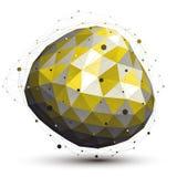 Ελαφρύ ασυμμετρικό τρισδιάστατο αφηρημένο αντικείμενο με το πλέγμα γραμμών ζωηρόχρωμος Στοκ Εικόνες