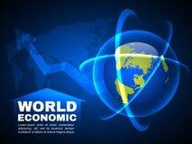 Ελαφρύ διανυσματικό υπόβαθρο φυσαλίδων γραμμών παγκόσμιων οικονομικό και σφαιρικό χαρτών Στοκ Φωτογραφίες
