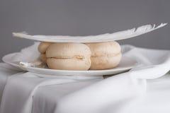 ελαφρύ διπλό μπισκότο με ένα φτερό πάνω από το πιατάκι Στοκ εικόνα με δικαίωμα ελεύθερης χρήσης