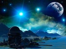 ελαφρύ μαγικό ηλιοβασίλεμα ήλιων ουρανού τοπίων φαντασίας πουλιών Στοκ εικόνα με δικαίωμα ελεύθερης χρήσης