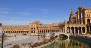 Ελαφρύ πανόραμα 4k Σεβίλη Ισπανία ήλιων de espana Plaza απόθεμα βίντεο