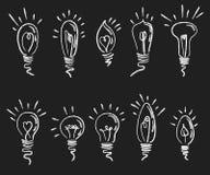 ελαφρύ σύνολο βολβών Συλλογή της τυποποιημένης ενέργειας - λάμπες φωτός αποταμίευσης Ανάβοντας ηλεκτρική συσκευή Στρέθιμο της προ Στοκ Εικόνα