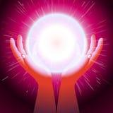 Ελαφρύ υπόβαθρο λάμψης παλαμών ενεργειακών χεριών σφαιρών μαγικό Στοκ Φωτογραφία