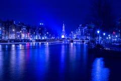 Ελαφρύ φεστιβάλ του Άμστερνταμ Nightscene Στοκ Εικόνα