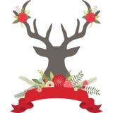 Ελαφόκερες ελαφιών Χριστουγέννων με τα λουλούδια, σύνολο εμβλημάτων Στοκ εικόνες με δικαίωμα ελεύθερης χρήσης
