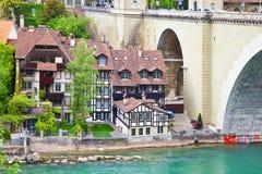 Ελβετία, πόλη Βέρνη και ποταμός Aare Στοκ Φωτογραφία