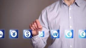 Ελβετικά εικονίδια φράγκων αφής επιχειρηματιών απόθεμα βίντεο